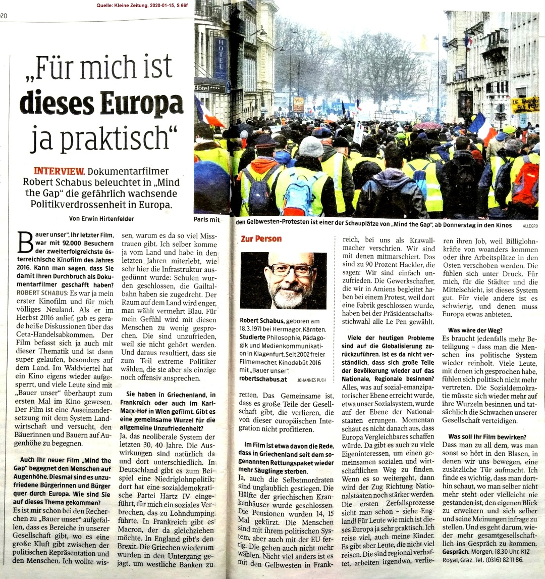 2020-01-15_Kleine-Zeitung_Robert-Schabus_Mind-the-Gap_Interview