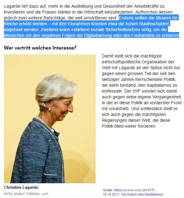 2017-11-04_woz_hueterin-des-kapitalismus_iwf-christine-lagarde-fordert-progressivere-wirtschaftspolitik